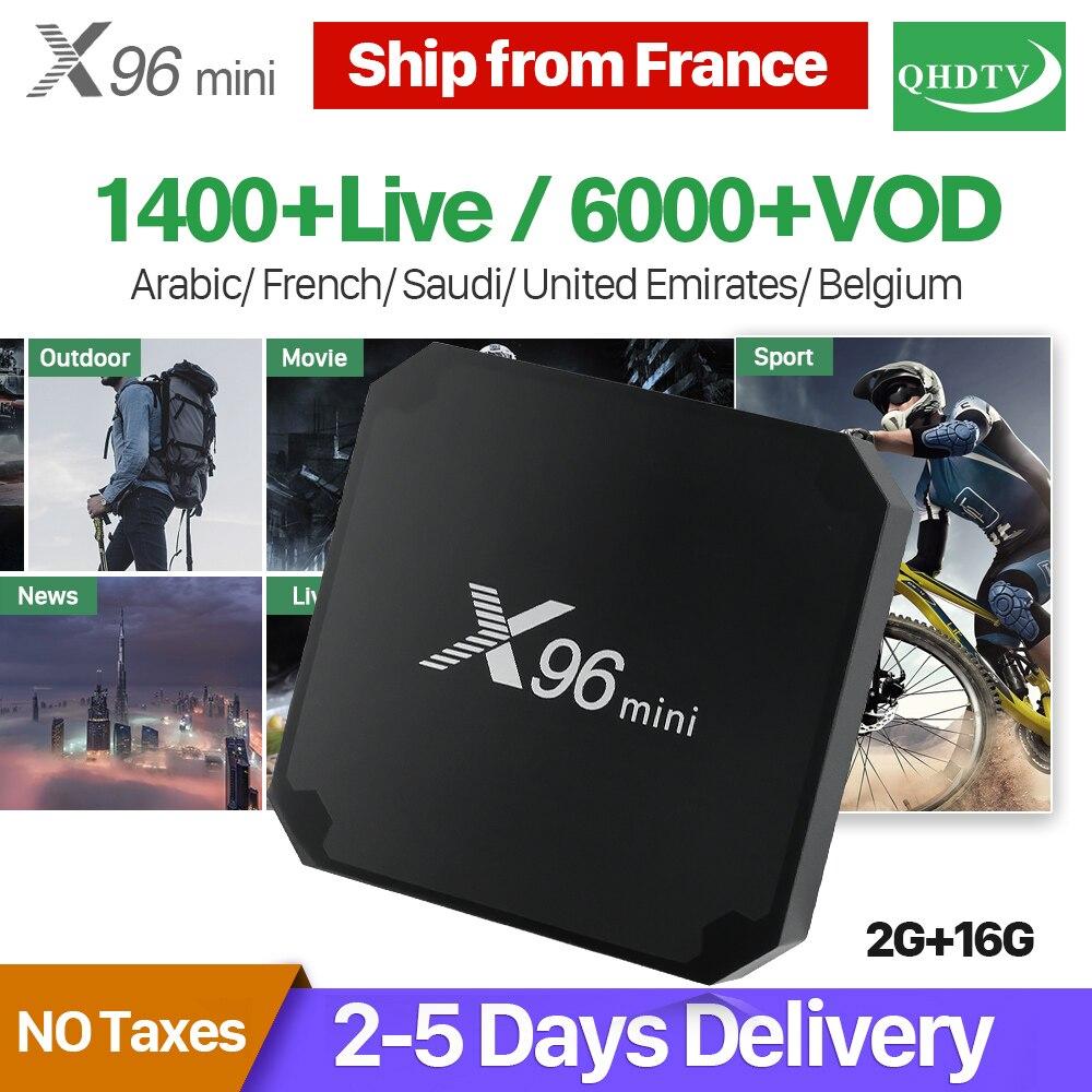 X96 Mini IPTV Frankreich Arabisch Box Android 7.1 2 gb 16 gb Amlogic S905W Quad Core mit QHDTV 1 jahr Abonnement frankreich Arabisch IPTV
