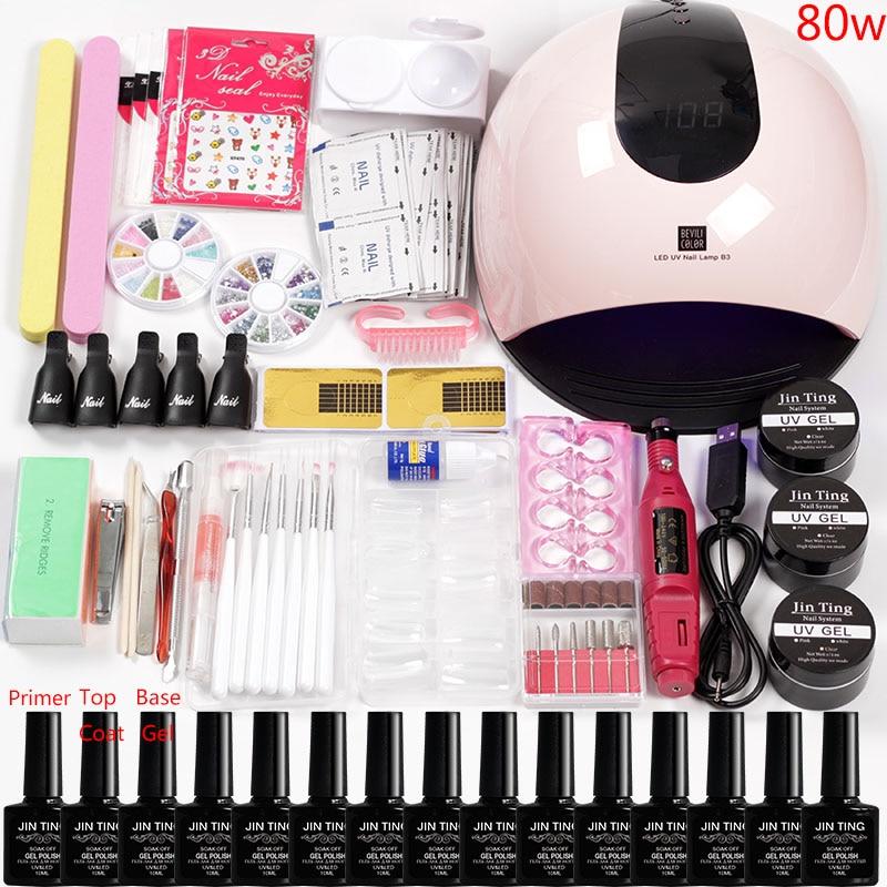 36W/48W/80W Led Uv Nail Lamp Manicure Set 12 Color Acrylic Nail Kit Gel Varnish Polish Extension Set Nail Drill Bits Handle Kit
