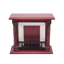 1:12 Toy House Furniture Wooden Simulation Retro Red Fireplace Decoration Toy Doll House Accessories red house painters red house painters red house painters