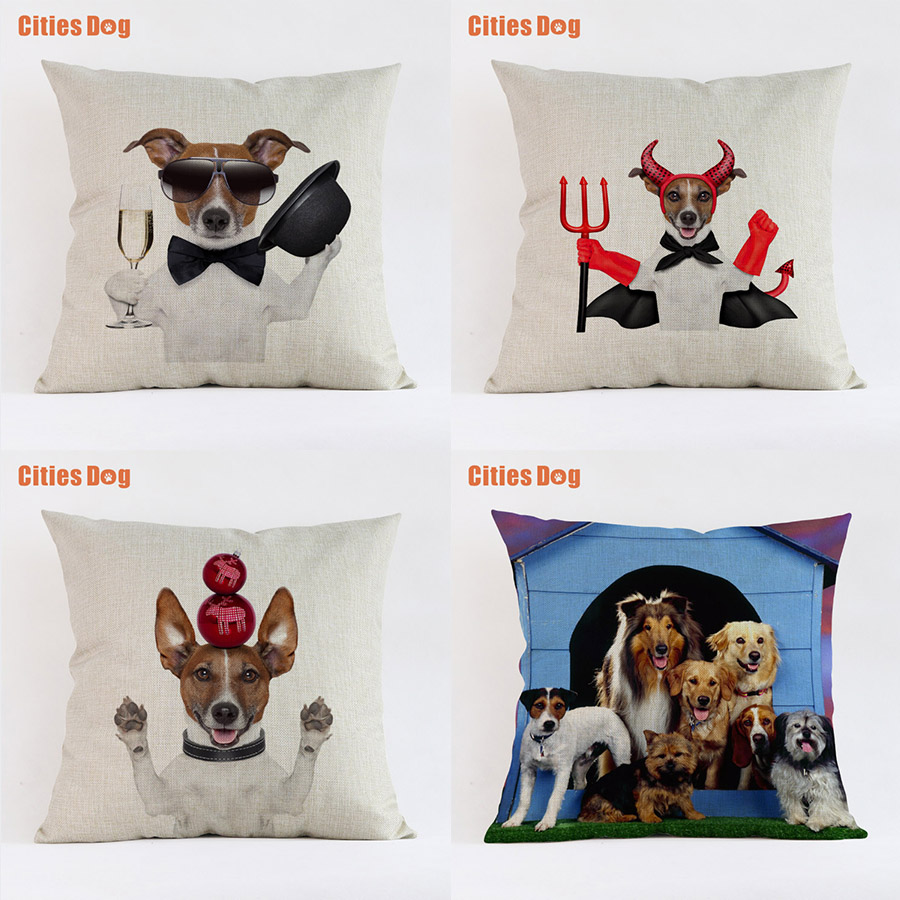 Jack Russell Terrier Dog Cushion Sofa Cover Decorative Pillows 2018 New Year Linen 45 * 45cm Easter Gift Pillowcases Almofada