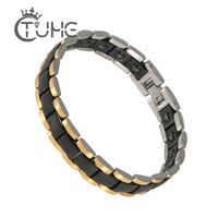 Health Bio Magnetic Ceramic Bracelet Black White Germanium Stainless Steel Cuff Pulseira Therapy Bangle Jewelry for Men Women