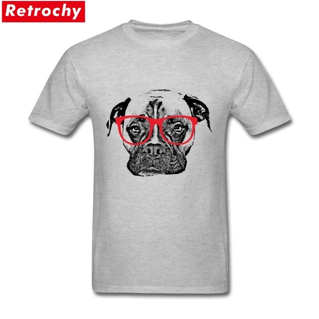 Short Sleeve Cotton Custom Boxer Dog With Glasses T Shirt Order
