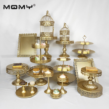 1 Pcs Cupcake Gold 3 Tier Vintage Round Birthday Wedding Cake Stand Set