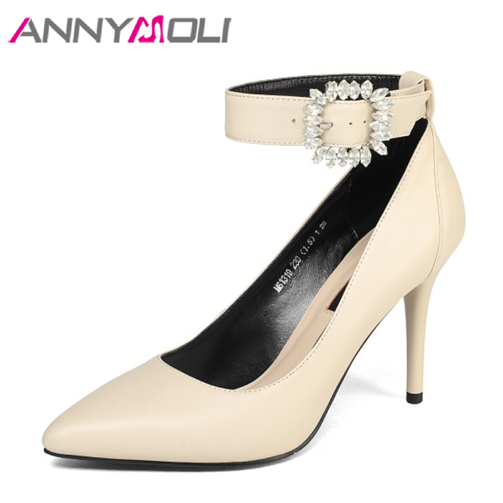 ANNYMOLI Genuine Leather Women Pumps High Heels Ankle Strap Shoes Crystal Thin Heel Shoes Pumps Elegant 2018 New Beige Size 39 annymoli genuine leather women high heels platform shoes crystal pointed toe thin heels wedding shoes bridal beige elegant pumps