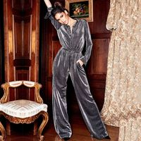 2019 Newest Women Jumpsuit Romper Long Sleeve V Neck Casual Playsuit Overalls Ladies Wide Leg Loose Silver Sexy Party Jmpsuits