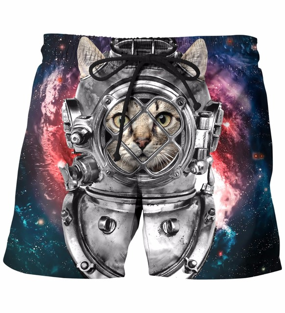 Harajuku Style Short Pants Mens Hipster Galaxy 3D Shorts Astronaut Cat Head Print Beach Shorts Streetwear Board Shorts