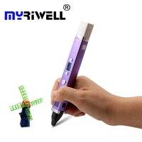 Myriwell três geração 3d caneta interface usb 5 v 2a desenho criativo caneta graffiti 3d melhor presente para crianças caneta de impressão 3d