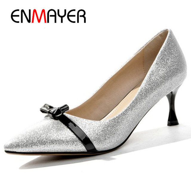 a3ef2efdfb63 ENMAYER Bowties Charms Shoes Woman High Heels Pumps in Womens Shoes Gold  Silve Shoes Party Wedding Glitter Shoes Pumps