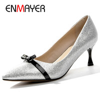 ENMAYER Bowties Charms Shoes Woman High Heels Pumps in Womens Shoes Gold Silve Shoes Party Wedding Glitter Shoes Pumps