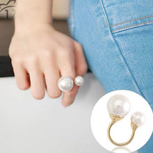 Sweet Simulated Pearl Globe Rings in Small Big Sizes Silver Opening for Women Gifts(China)