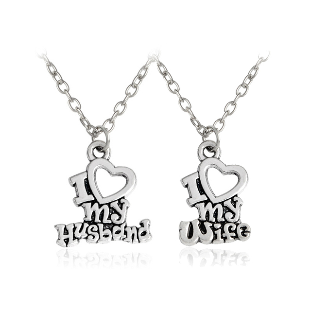 5b7eceed95 I Love My Husband I Love My Wife Heart Necklace Couples Lovers Romance Love  Supporting Accessories Fashion Jewelry Gifts