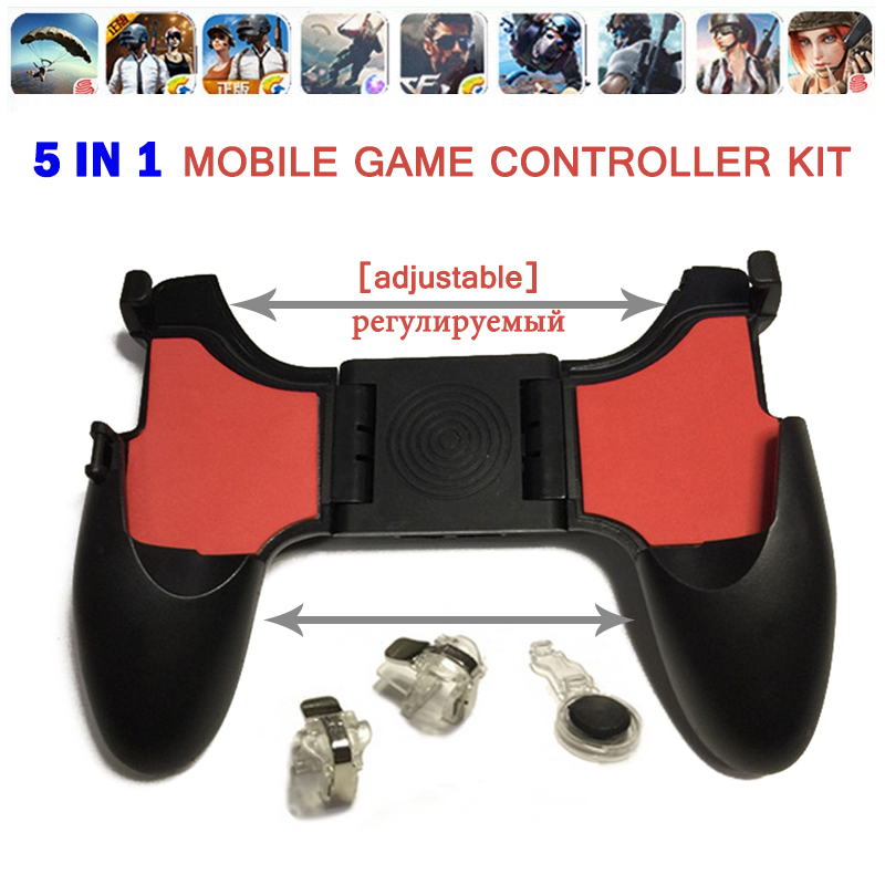 Free Fire 5 In 1 PUBG Mobile Joystick Controller Gamepad L1 R1 Gaming Trigger Button L1R1 Shooter Phone Game Pad For IPhone