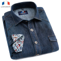 Langmeng 2015 New Cotton Brand High Quality Long Sleeve Casual Shirt Slim Denim Shirts Men Solid Color Jeans Shirts Dress Shirt