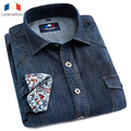 Langmeng 2015 Nova Marca De Algodão De Alta Qualidade de Manga Comprida Casual camisa Camisas de Brim Magros Dos Homens calças de Brim de Cor Sólida Camisas de Vestido camisa