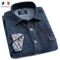 Langmeng 2015 Nueva Marca de Algodón de Alta Calidad de Manga Larga Casual camisa Delgada del Dril de algodón Camisas de Los Hombres Pantalones Vaqueros de Color Sólido Camisas de Vestir camisa