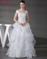 Jark Tozr Custom Made Strapless Pleated Beading Hand Made Flowers White Organza Bridal Ball Gown Wedding