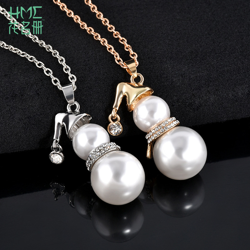 1pcs Fashion Cute Christmas Snowman Imitation Pearl Long Section Necklaces Pendants Sweater Clavicle Chain Jewelry Accessories