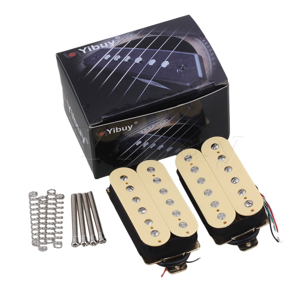 Yibuy2x Humbucker High Output Pickup Set 4 Conductor Wire belcat bass pickup 5 string humbucker double coil pickup guitar parts accessories black