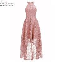 Vintage High Low Plus Size 26W Lace Evening Dress 2019 Sexy Halter Neck Evening Party Dresses Vestido de Festa Curto