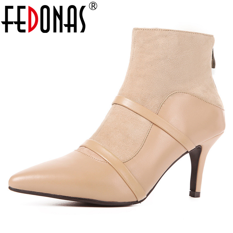 FEDONAS New Women High Heels Party Wedding Shoes Woman Zipper Pointed Toe Prom Pumps Ladies Genuine Leather Ankle Boots fedonas top quality women bowtie pumps genuine leather ladies shoes woman sexy high heels party wedding shoes pointed toe pumps