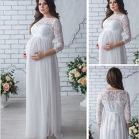 OkayMom Maternity Dress For Photo Shoot Pregnancy Wear White Long Lace Evening Party Dresses Clothing Maternity