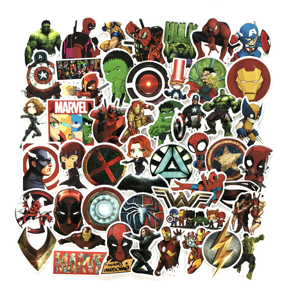 50pc/Cartoon,superhero,Easter stickers For PVC waterproof skateboard suitcase motorcycle guitar DIY decals bomb Iron Man sticker emblem