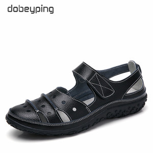 Image 4 - dobeyping Hollow Woman Sandals Breathable Women Beach Shoes Genuine Leather Female Flats Cut Outs Womens Loafers New Arrival