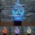 USB colorido Carrossel 3D Luminaria Lâmpada de Mesa Luz Da Noite Levou iluminação Decorativa Atmosfera lâmpada presentes de natal