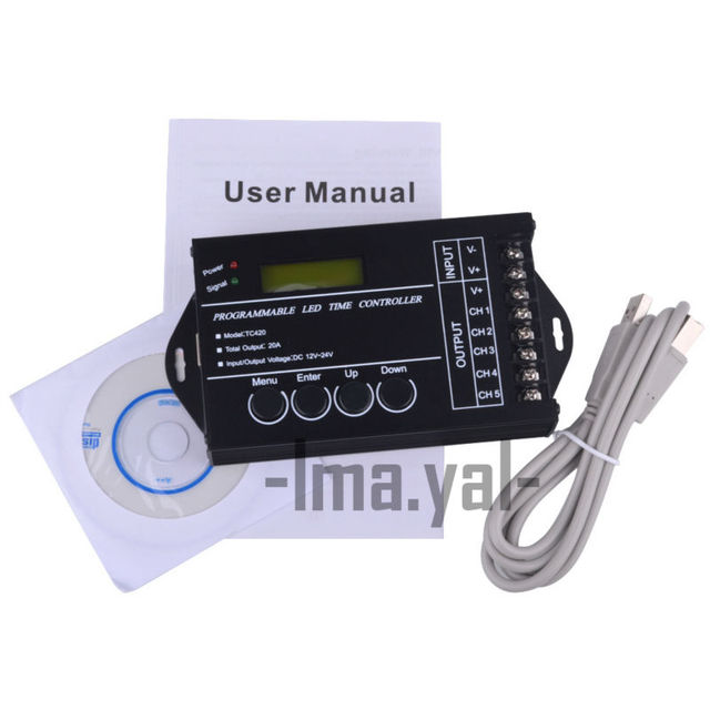 WIF Time programable RGB LED Controller TC421 AND TC420 DC12V/24V 5Channel Total Output 20A Common Anode Programmable