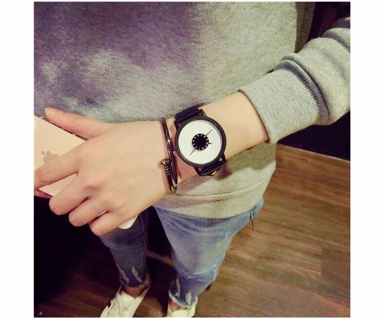 Hot fashion creative watches women men quartz-watch BGG brand unique dial design minimalist lovers' watch leather wristwatches 22