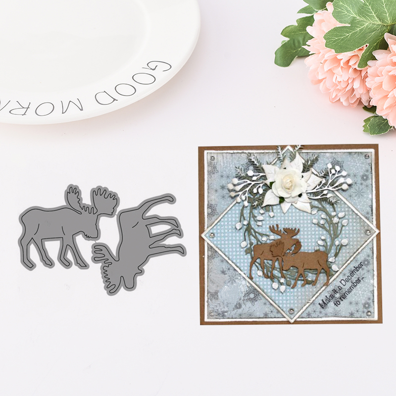 JC Metal Cutting Dies for Scrapbooking Deer Animal Die Cut for Cards Making Album Embossing Folder Paper Craft Template Stencil in Cutting Dies from Home Garden