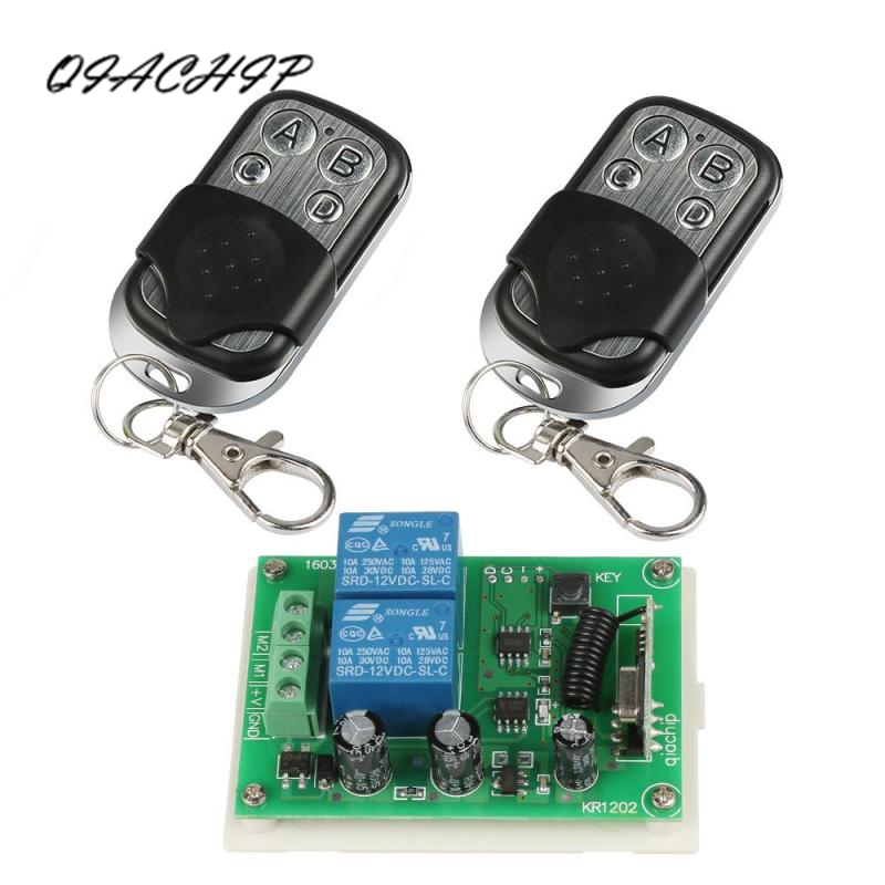 QIACHIP 433Mhz Wireless Remote Control Switch DC 12V 2CH Relay Receiver Module And 2pcs RF Transmitter 433 Mhz Remote Controls wireless pager system 433 92mhz wireless restaurant table buzzer with monitor and watch receiver 3 display 42 call button