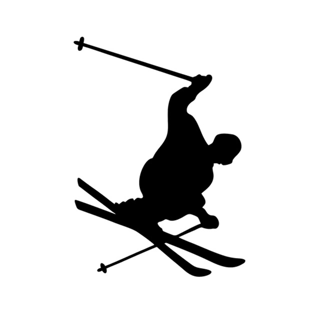 Euro oval vinyl car decal wall sticker skier skiing jump turn skis pole male suv truck