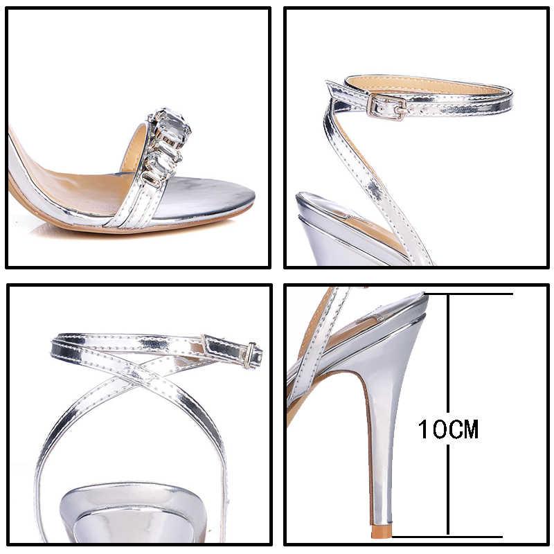 ออกแบบรองเท้าผู้หญิงหรูหราอัญมณีอัญมณี Gladiator รองเท้าแตะรองเท้าส้นสูงสีทองผู้หญิงสายคล้องข้อเท้ารองเท้าแตะ Rhinestone