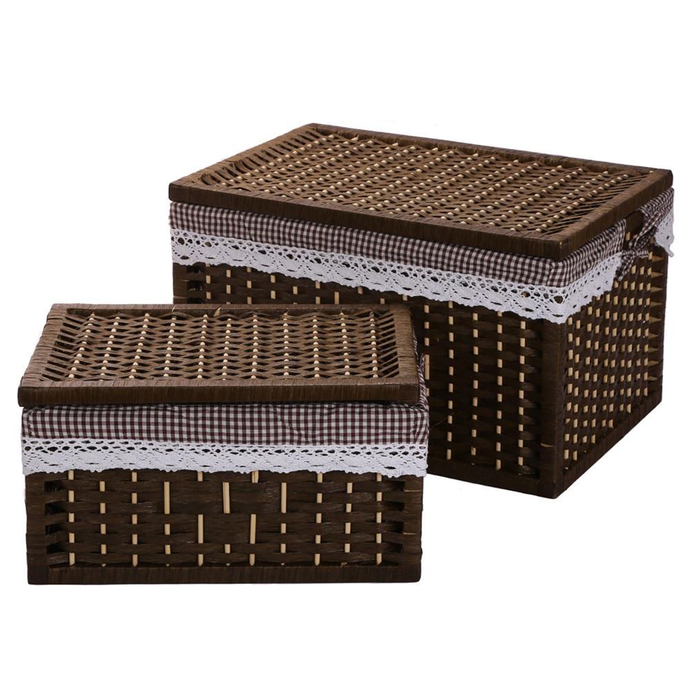 Καλάθι πλυντηρίου Καλάθια αποθήκευσης δοχείο Χαρτί σχοινιού Υφασμάτινη θήκη Αποθήκευση ορθογώνιο καλάθι με καπάκι διακοσμητικά κουτιά διοργανωτή ξύλου