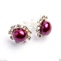 Hot selling> Hot sale new Style >>>> New 8 8.5mm Natural Fuchsia Freshwater Pearl Crystal Silver Plated Stud Earring Bride jewe