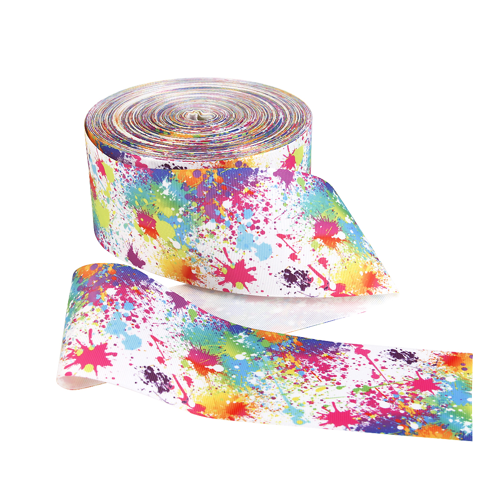 David accessories 3 75mm different style series flowers printed polyester ribbon 50 yards DIY handmade materials