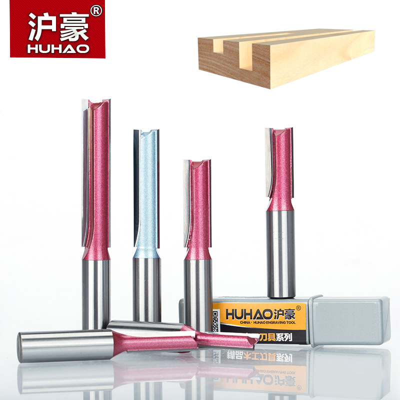 HUHAO 1pc 1/4 1/2 Shank Industrial Milling Cutter Grade Straight Bit Woodworking Tools Router Bit For Wood Tungsten Endmill huhao 1pc 1 2 1 4 shank engraving bit for wood cutting industrial grade router bits woodworking cnc tool milling cutter
