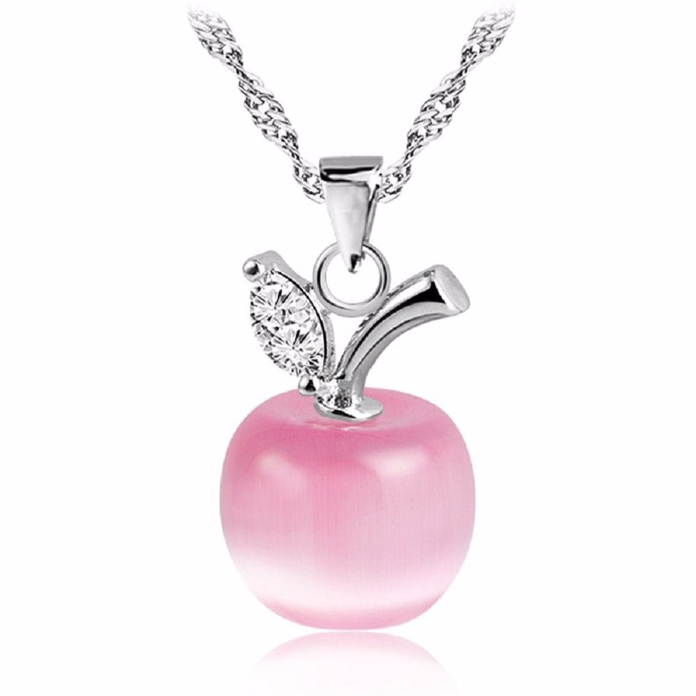 Sweets Opal Apple Suspension Pendants With Silver Chain For Friends Christmas Gifts Jewellery Pendant Necklace Bijouterie C008-4