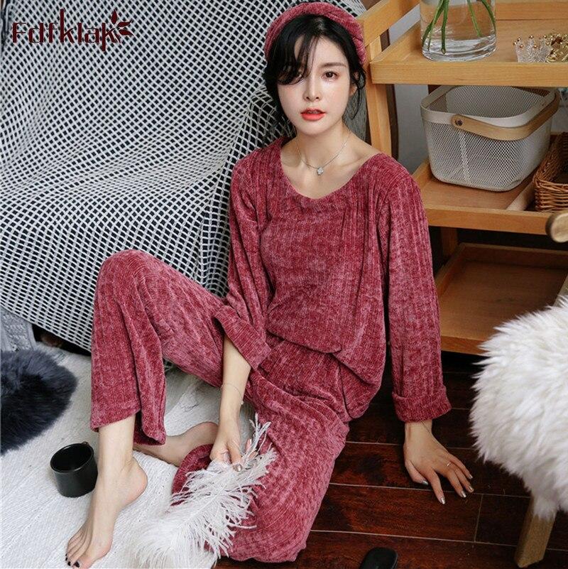 Fdfklak New pijamas mujer autumn winter cotton   pajamas   women lounge sleepwear   pajama     set   long sleeve pyjamas women home clothes