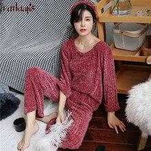 Fdfklak новых pijamas mujer на осень-зиму хлопковые пижамы женские lounge  пижамы пижамный комплект Длинные рукава Пижама женская. 54abc0c898e26
