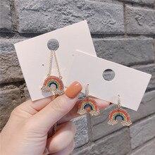 Korean Colorful Rainbow Rhinestone Anti-allergy Woman Girls Dangle Drop Earrings Fashion Jewelry-QQD5 цена