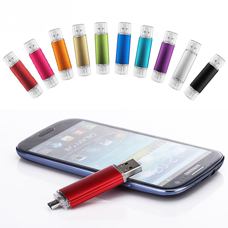 OTG USB Flash Drive 32gb 16gb 8gb Metal Memory Stick Pendrive 32gb 64 Gb 128 Gb Pen Drive Usb Stick Flash Disk Free Shipping