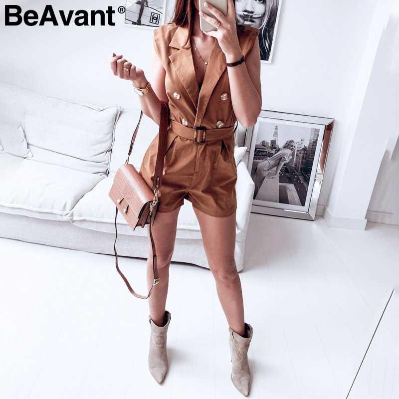 BeAvant элегантный v-образный вырез женский игровой костюм без рукавов пояс Кнопка Короткий Повседневный Комбинезон уличная Летняя женская Комбинезон