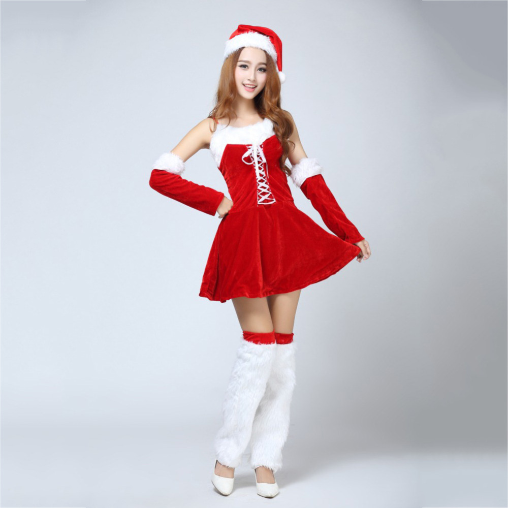 fashion dress for christmas parties backless red dress christmas hat red gloves snow white socks red santa saint costume in lingerie sets from novelty - Red Dress For Christmas Party
