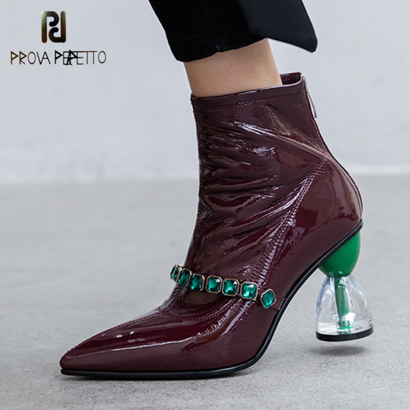 Prova Perfetto Fashion Boots For Women Patent Leather Women Ankle Boots Autumn Winter Sexy Pointed Toe High Heels Gothic Boots