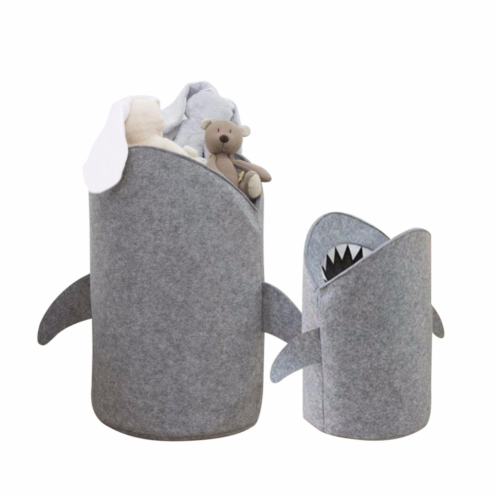 1PC Cute Shark Shaped Kids Toy Storage Basket Multi-Functional Premium Felt Home Laundry for Baby Toys and Clothing