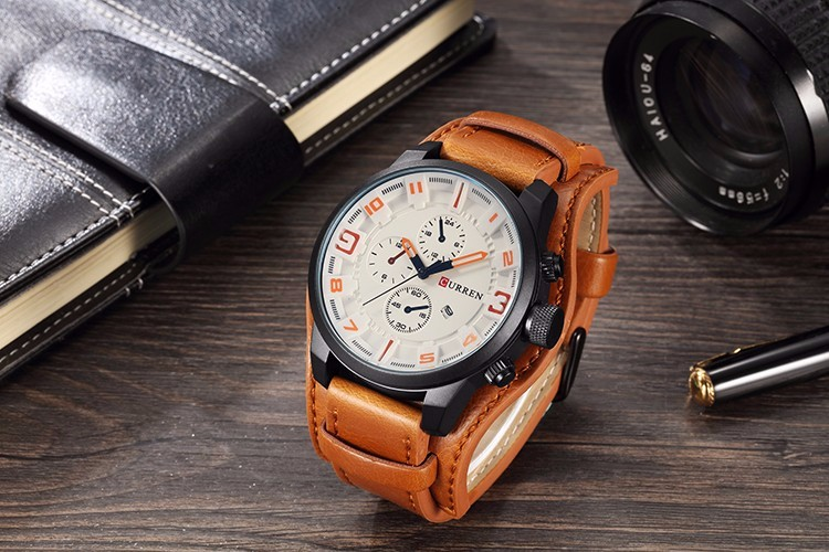 Curren 8225 Army Military Quartz Mens Watches Top Brand Luxury Leather Men Watch Casual Sport Male Clock Watch Relogio Masculino 22