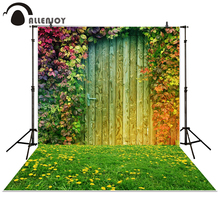 Allenjoy photography backdrop garden Grass Leaves Flower door wood baby shower children background photo studio photocall