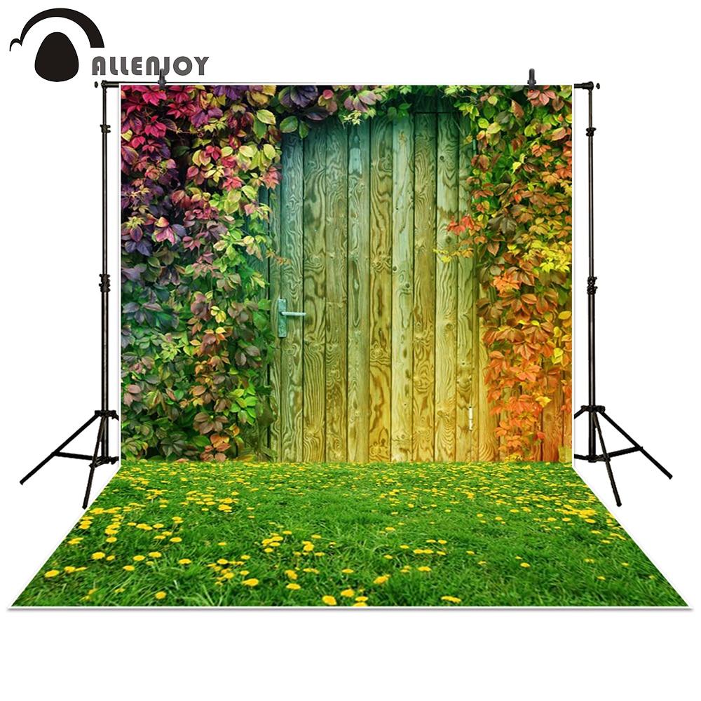 Allenjoy photography backdrop garden Grass Leaves Flower door wood baby shower children background photo studio photocall